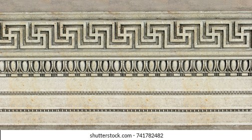 hellenistic architectural pattern of a historic building carved in stone