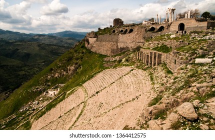 The Hellenistic Theatre Theater with Temple of Dionysus below and Acropolis of Pergamon above in Turkey
