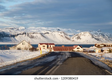 HELLNAR ICELAND ON MARCH 2018: Hellnar village Snaefellsnes peninsule West of Iceland in winter