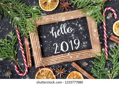 HELLO 2019 greeting card.  New Year and Christmas celebration. Winter holidays concept. Top View.