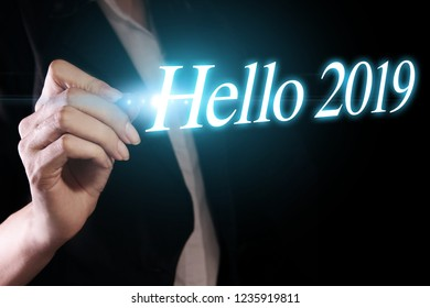 Hello 2019 with hand. New year is the first day of the year in the Gregorian calendar.
