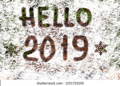 Hello 2019 text, the concept of a new year. Christmas and New Year holiday background. Winter holidays concept