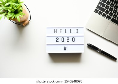 Hello 2020 Business Concept,Top view