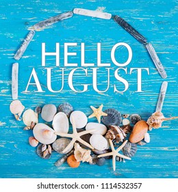 hello august text in circle of sea shells. title concept
