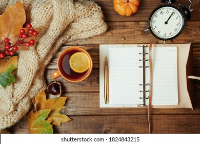 Hello autumn. autumn background with notebook, rowan, chestnuts, leaves, tea and lemon on wooden planks.