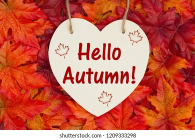 Hello Autumn message, Some fall leaves and a heart shaped wood sign with text I Love Autumn