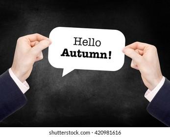 Hello autumn written on a speechbubble