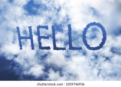 HELLO cloud word on blue sky.