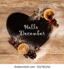Hello December Wallpaper With Heart Shape Snowflakes Orange And Pine Cones
