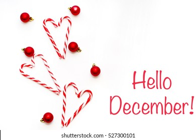 hello december, welcome winter greeting card of decor Poster with sunlight filter on white background. Flat lay top view