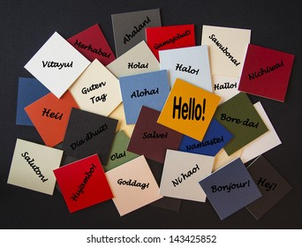 Hello in different world or foreign languages - sign for travel, business and education.