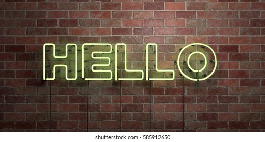 HELLO - fluorescent Neon tube Sign on brickwork - Front view - 3D rendered royalty free stock picture. Can be used for online banner ads and direct mailers.