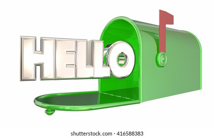 Hello Greeting Mailbox Word Welcome 3d Illustration