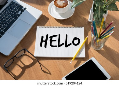 Hello Hi people Greeting  Communication saying hello in English , Hello my name is name , Hello spring poster , hello in French, Hello calligraphic