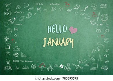 Hello January greeting on green school teacher's chalkboard with creative student's doodle of learning education graphic freehand illustration icon for back to school month concept