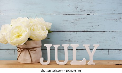 hello july alphabet letter with space background