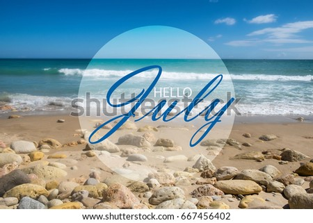 Hello July Wallpaper Summer On Beach Text With Background