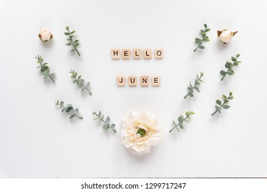 Hello June words on white marble background