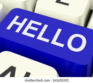 Hello Key Showing Online Greeting Or Welcome