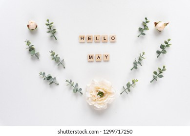 Hello May words on white marble background