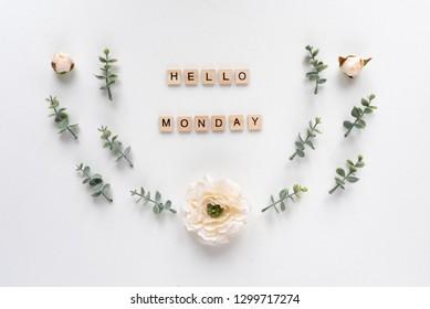 Hello Monday words on white marble background