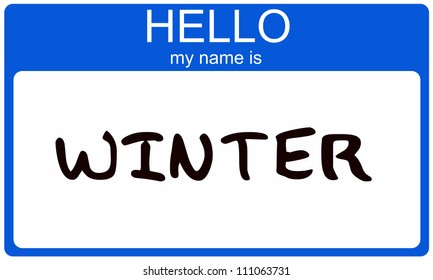 Hello My Name is Winter name tag sticker in blue seasonal color.
