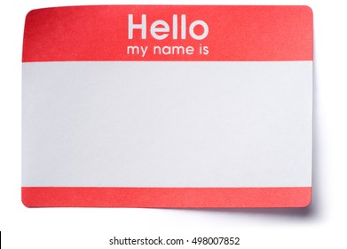 Hello Name Tag Sticker on White