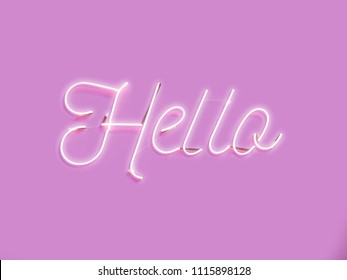 hello neon text on pink background