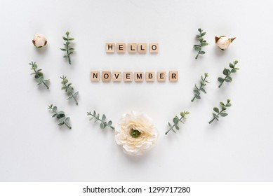 Hello November words on white marble background