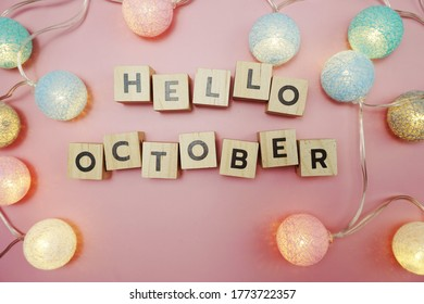 Hello October alphabet letter with space copy on pink background