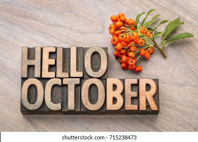 hello October greeting card - vintage letterpress wood type blocks against grained wood with firethorn berries