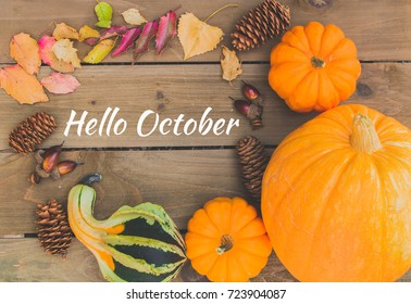Hello October sign on board