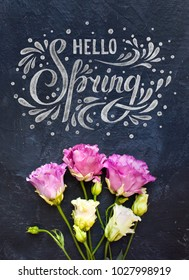 Hello Spring hand sketched inscription and spring flowers on dark blue background. Lettering spring season.