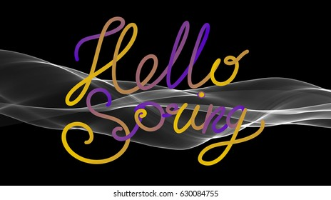 Hello spring lettering flying over black background with white smoke or flame.