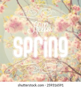 Hello spring text with out of focus spring background.