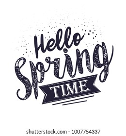 Hello spring vintage lettering, illustration isolated on white