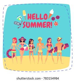 Hello summer. Company of young people on beach. Fashion happy people. illustration