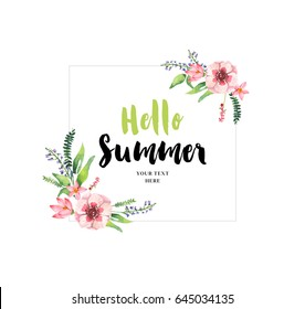Hello Summer illustration card.