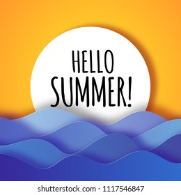 Hello summer modern 3D paper cut background card with sea waves