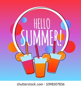 Hello summer modern gradient background with drinks