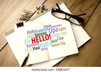 Hello word in different languages on notebook