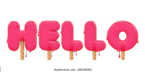 Hello - word made from a melting ice lolly font. 3D rendering