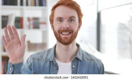 Hello, Young Casual Redhead Man Waving Hand