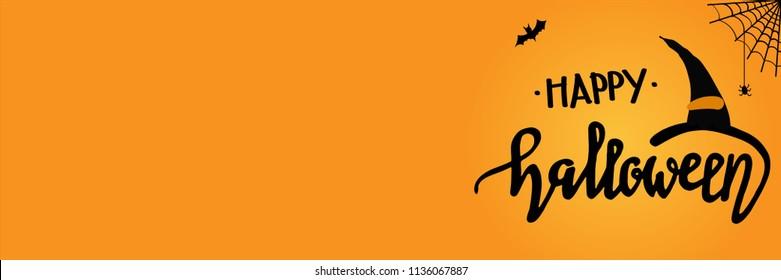 Helloween banner. Vector lettering 'Happy Halloween'. Copyspace for text