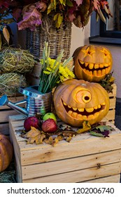 Helloween pumpkin decoration. Helloween party. Helloween celebration attributes.