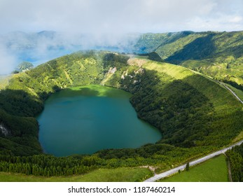 Hell's Mouth (Boca do Inferno) - lakes in Sete Cidades volcanic craters on San Miguel island, Azores, Portugal.