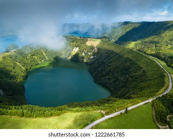Hell's Mouth lakes in Sete Cidades volcanic craters on San Miguel island, Azores, Portugal.