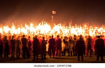 Up Helly Aa procession galley burning. Up Helly Aa is a viking fire festival unique to the Shetland Isles, North of Scotland, UK.
