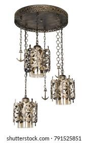 helm anchor yellow light honey glass chandelier