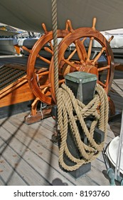 Helm of a boat (the USS Constellation, last ship from the Civil War, Baltimore MD)